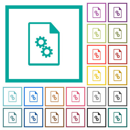 Executable file flat color icons with quadrant frames on white background