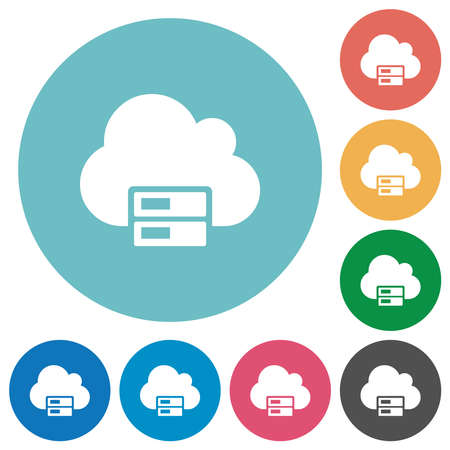 Cloud storage flat white icons on round color backgrounds