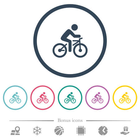 Bicycle with rider flat color icons in round outlines. 6 bonus icons included. 向量圖像