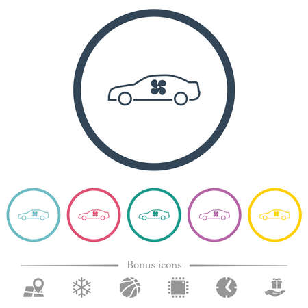 Car interior ventilation flat color icons in round outlines. 6 bonus icons included. 向量圖像