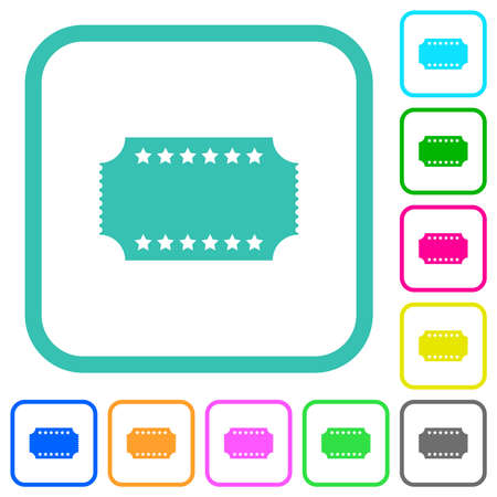 Ticket with stars vivid colored flat icons in curved borders on white background