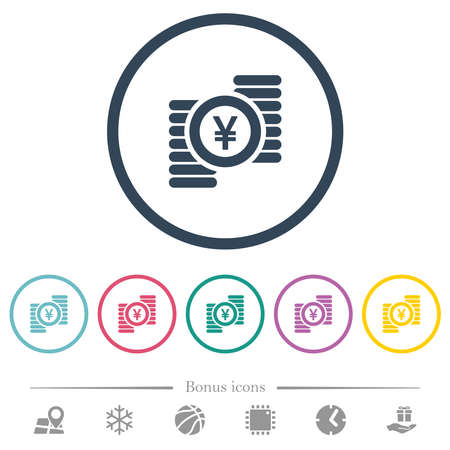 Yen coins flat color icons in round outlines. 6 bonus icons included. 向量圖像