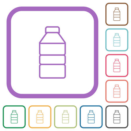 Water bottle simple icons in color rounded square frames on white background 免版税图像 - 157342011