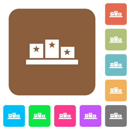 Winners podium with inside stars flat icons on rounded square vivid color backgrounds.