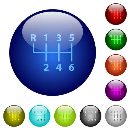 Six speed manual gear shift icons on round glass buttons in multiple colors. Arranged layer structure 免版税图像 - 157342332
