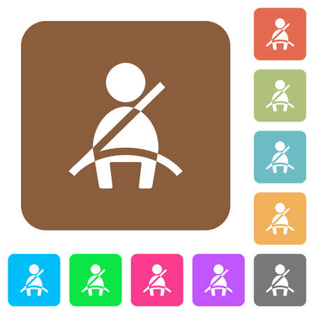 Car seat belt warning indicator flat icons on rounded square vivid color backgrounds. 免版税图像 - 157341820