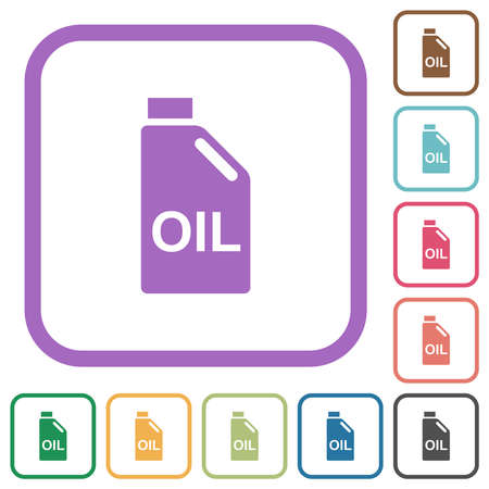 Oil canister simple icons in color rounded square frames on white background