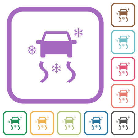Snowy road dashboard indicator simple icons in color rounded square frames on white background