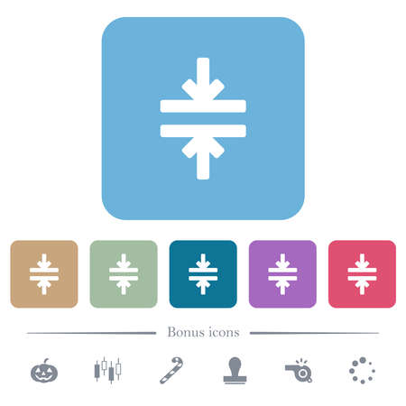 Horizontal merge tool white flat icons on color rounded square backgrounds. 6 bonus icons included 免版税图像 - 157429603