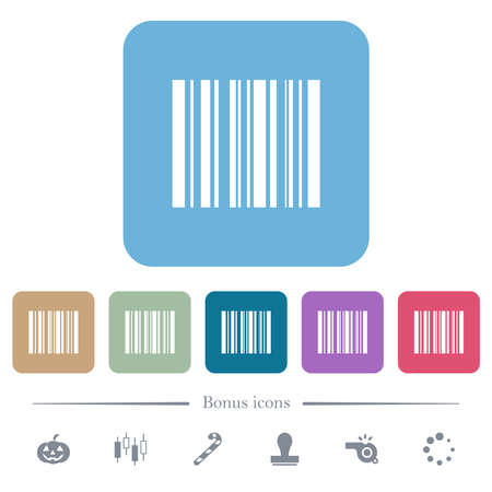 Barcode white flat icons on color rounded square backgrounds. 6 bonus icons included