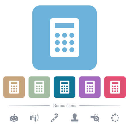 Calculator white flat icons on color rounded square backgrounds. 6 bonus icons included 向量圖像