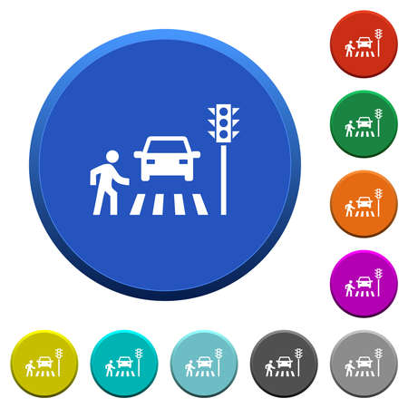 Pedestrian crossing round color beveled buttons with smooth surfaces and flat white icons 免版税图像 - 157427486
