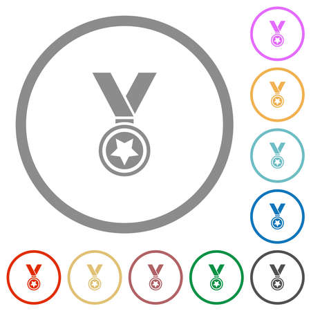 Medal with star flat color icons in round outlines on white background 矢量图像