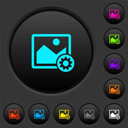 Image settings dark push buttons with vivid color icons on dark gray background 免版税图像 - 157426914