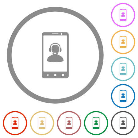 Mobile assistance flat color icons in round outlines on white background