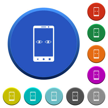 Mobile iris scanner round color beveled buttons with smooth surfaces and flat white icons 矢量图像