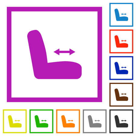 Car seat adjustment flat color icons in square frames on white background