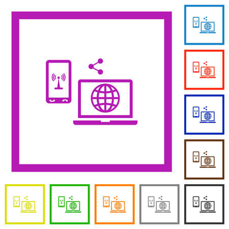 Share mobile internet flat color icons in square frames on white background 矢量图像