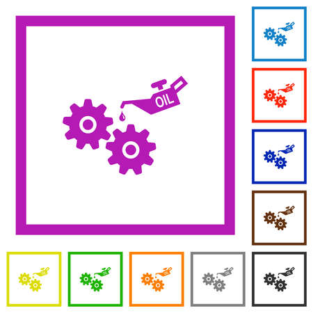 Oiler can and gears flat color icons in square frames on white background