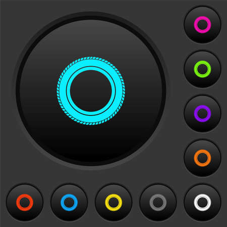Car tire dark push buttons with vivid color icons on dark gray background Vettoriali