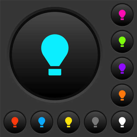 Air balloon dark push buttons with vivid color icons on dark gray background