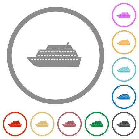 Cruise ship flat color icons in round outlines on white background