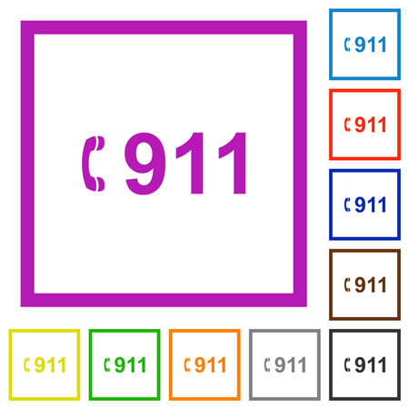 Emergency call 911 flat color icons in square frames on white background 矢量图像