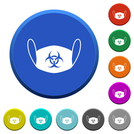 Face mask with biohazard symbol round color beveled buttons with smooth surfaces and flat white icons