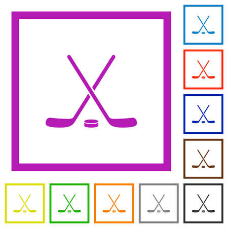 Hockey sticks with puck flat color icons in square frames on white background 免版税图像 - 157424740