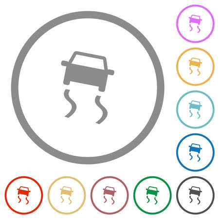 Slippery road dashboard indicator flat color icons in round outlines on white background