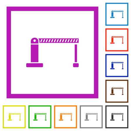Closed barrier flat color icons in square frames on white background