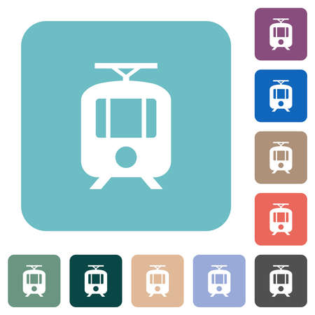 Tram white flat icons on color rounded square backgrounds