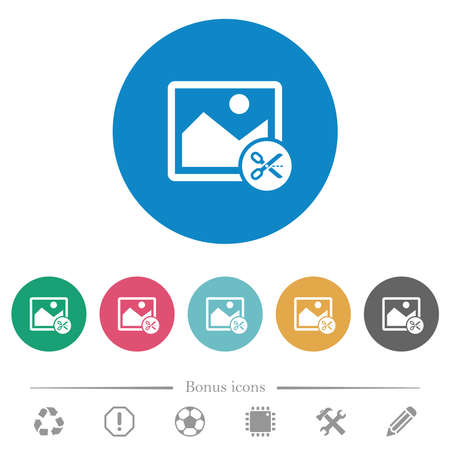 Cut image flat white icons on round color backgrounds. 6 bonus icons included. 向量圖像