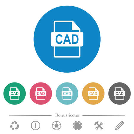 CAD file format flat white icons on round color backgrounds. 6 bonus icons included.