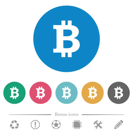 Bitcoin sign flat white icons on round color backgrounds. 6 bonus icons included.