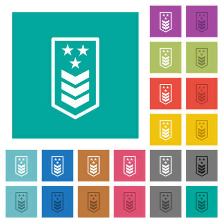 Military insignia with three chevrons and three stars multi colored flat icons on plain square backgrounds. Included white and darker icon variations for hover or active effects. Ilustração