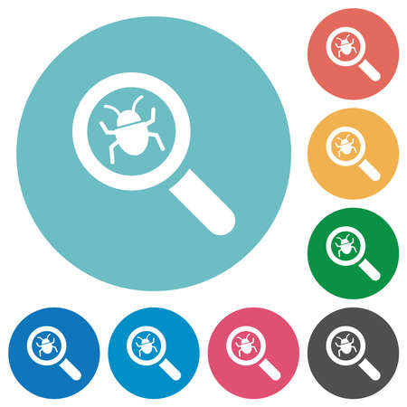 Bug tracking flat white icons on round color backgrounds