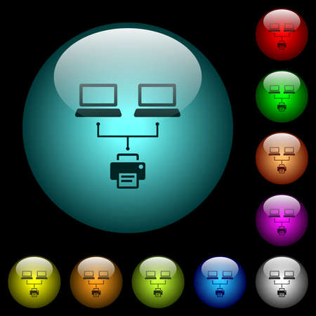 Network printing icons in color illuminated spherical glass buttons on black background. Can be used to black or dark templates 矢量图像