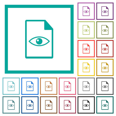 File preview flat color icons with quadrant frames on white background Vektorové ilustrace
