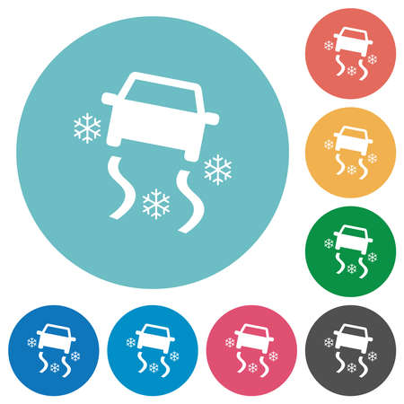 Snowy road dashboard indicator flat white icons on round color backgrounds