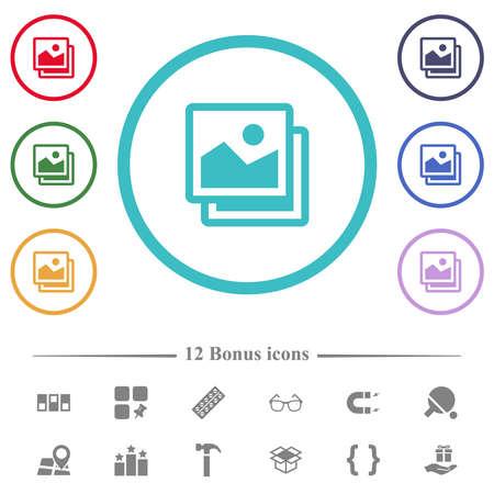 Pictures flat color icons in circle shape outlines. 12 bonus icons included. Illusztráció