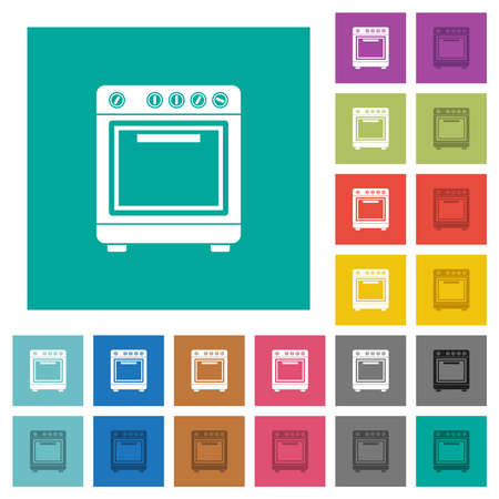 Door multi colored flat icons on plain square backgrounds. Included white and darker icon variations for hover or active effects.