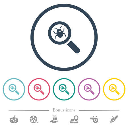 Bug tracking flat color icons in round outlines. 6 bonus icons included.