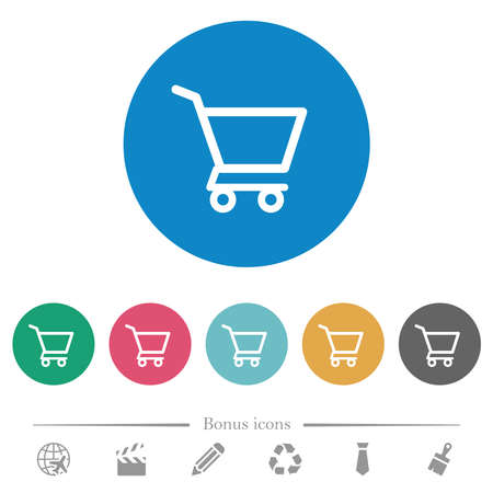Empty shopping cart flat white icons on round color backgrounds. 6 bonus icons included.