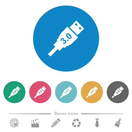 High speed USB flat white icons on round color backgrounds. 6 bonus icons included.