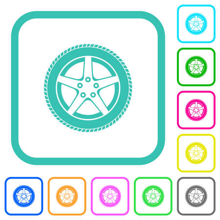 Car wheel vivid colored flat icons in curved borders on white background