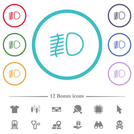 Fog lights flat color icons in circle shape outlines. 12 bonus icons included.