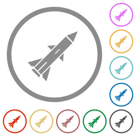 Ballistic missile flat color icons in round outlines on white background