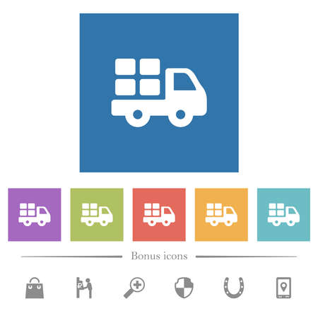 Transport flat white icons in square backgrounds. 6 bonus icons included.