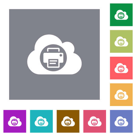 Cloud printing flat icons on simple color square backgrounds